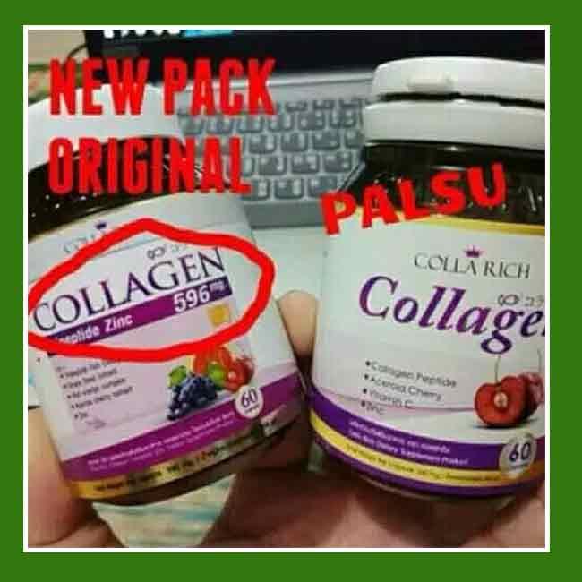 cara membedakan colla rich collagen asli dan palsu