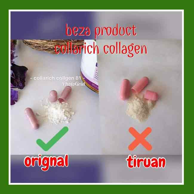 colla rich collagen asli dan palsu