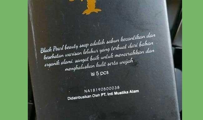 kemasan belakang sabun black pearl original
